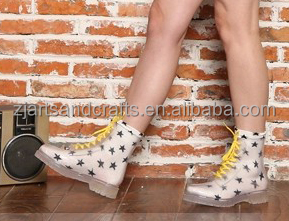Fashion silver martin ankle waterproof lace-up brilliant PVC rain boot for ladies