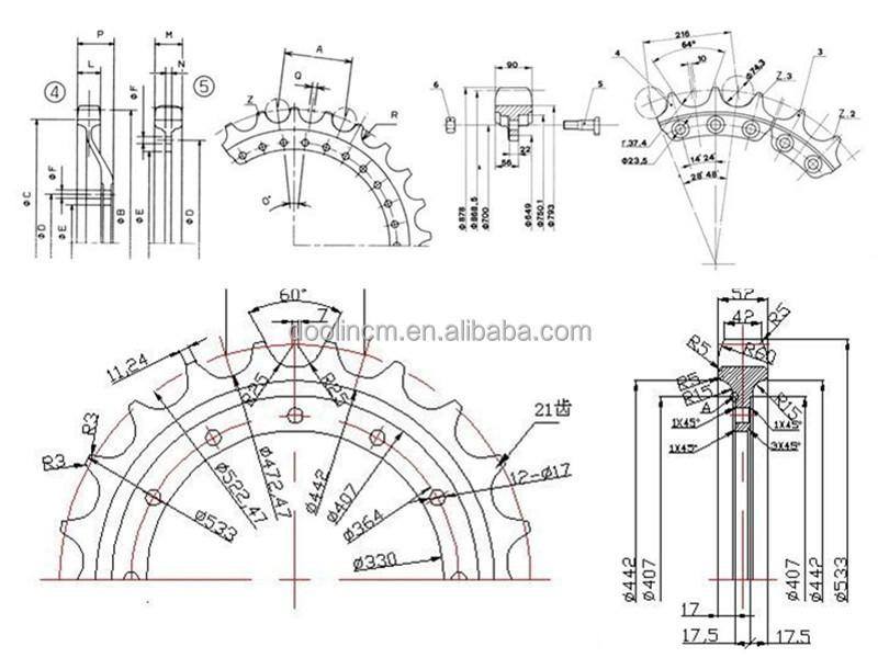Bulldozer_undercarriage_spare_parts_sprocket_segment_d4_d4c_d4d_d4h