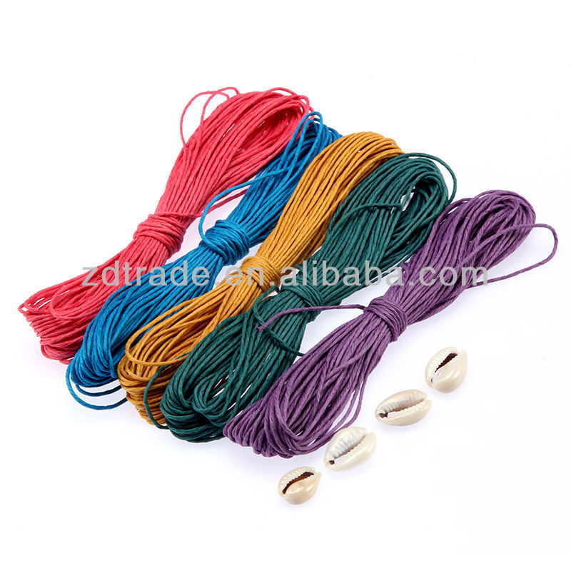 Colored Jute cord, waxed hemp cord Hemp rope for DIY crafts With Shell