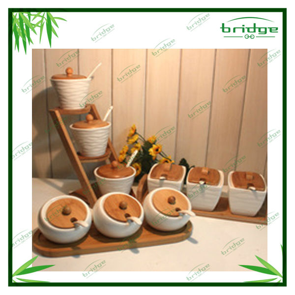 hot sale nature bamboo wooden new design kitchen accessories spice jar sets