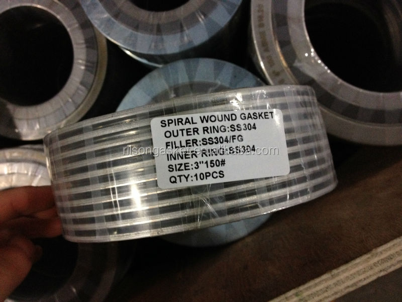 2014 Hot Sales 316l/304ss and Graphite Spiral Wound Gasket Ring with outer Ring (ASME B16.20)