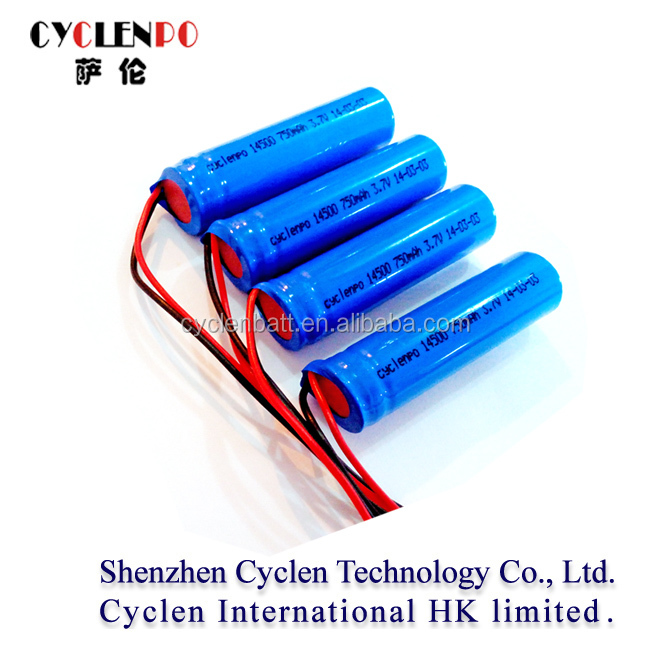 750mAh 3.7v icr 14500 rechargeable lithium battery with wire