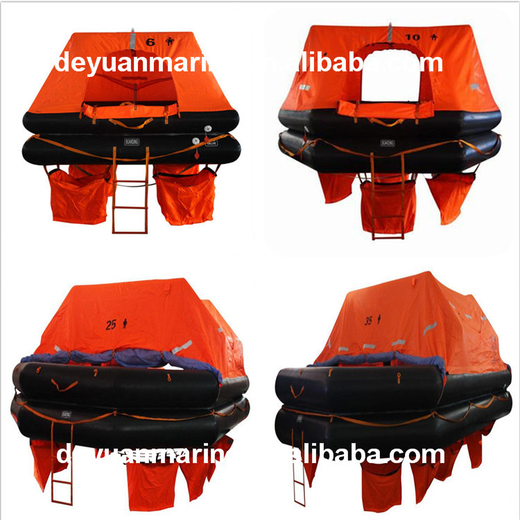 4 6 8 persons square type throw overboard infatable life for Four man rubber life craft