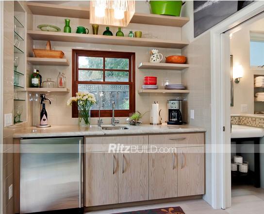 Contemporary Kitchen Essential Solid Wood Matte Finish Mini Kitchenette Small Kitchen Design