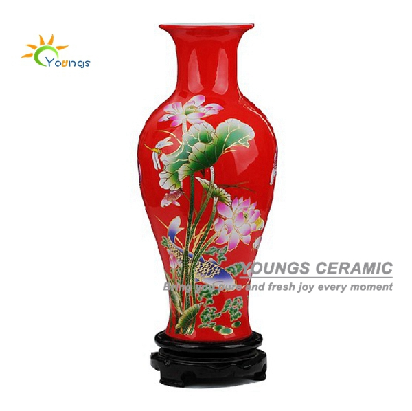 2015 China Red Glazed Ceramic Porcelain Flower Vases With