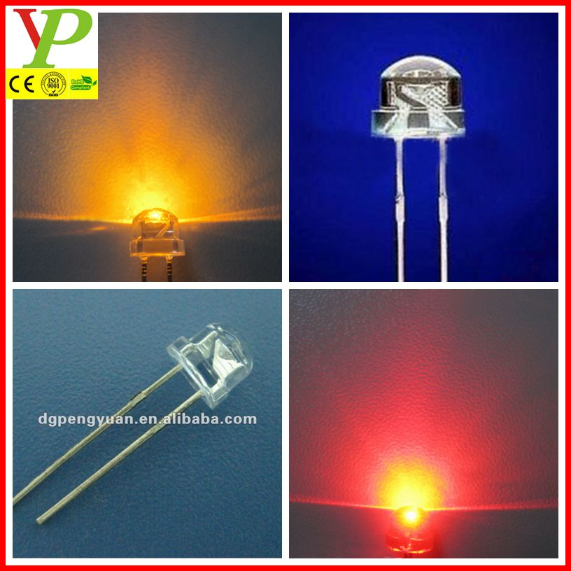 white 5mm straw hat led diode