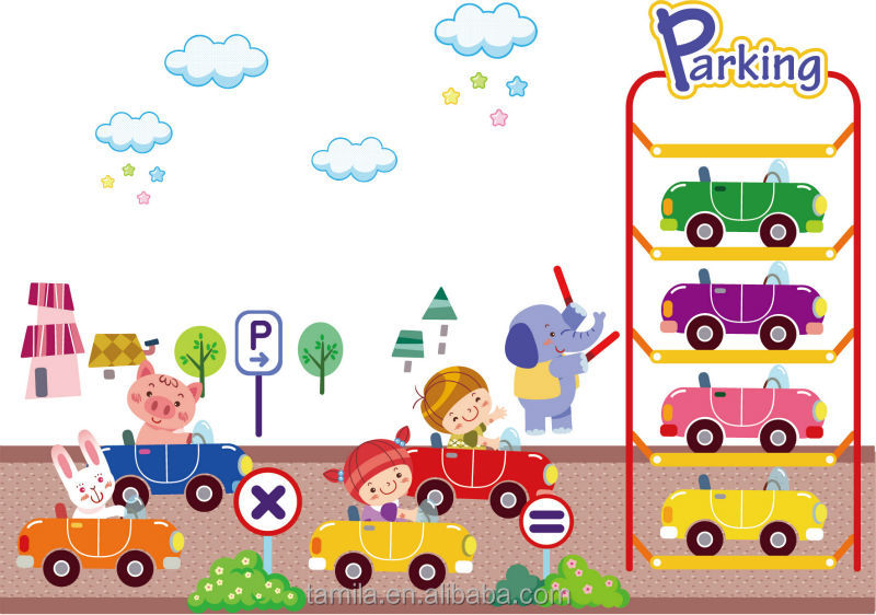 Kids Cartoon Car Parking Wall Sticker