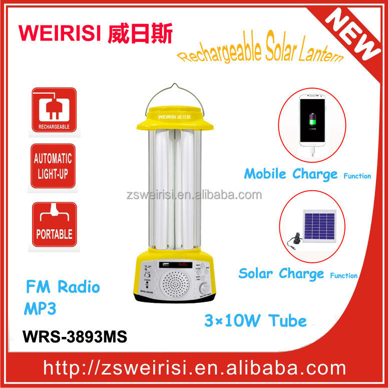 Rechargable Portable Solar Lamp with FM Radio & MP3 & USB Mobile Charger (WRS-3893MS)