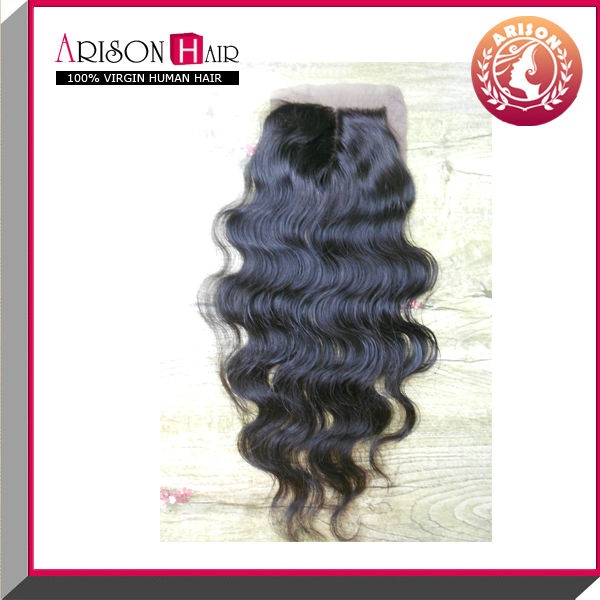Handmade lace closure 100% human virgin brazilian body wave lace closure