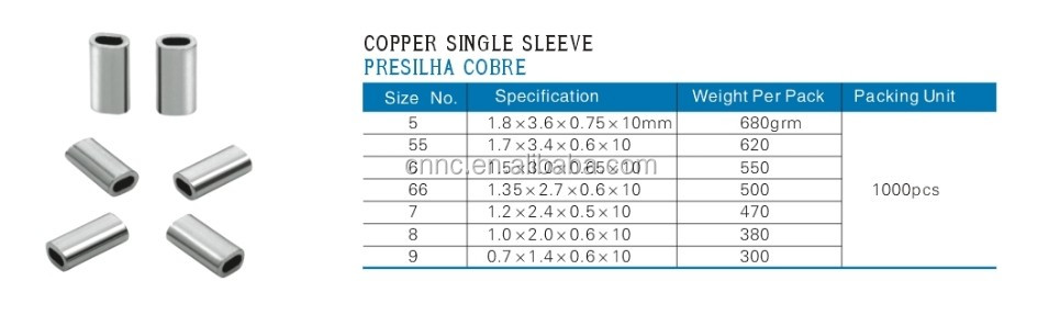 Copper Single Crimp Sleeves