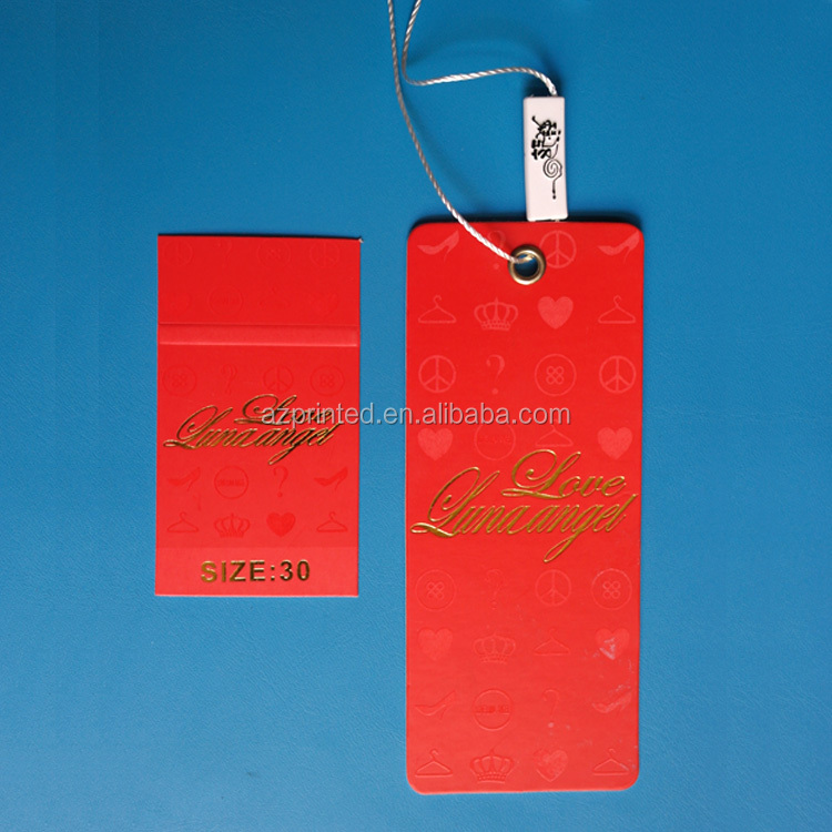 bright custom stamped logo hang tag fastener with full red colour background,newest design price hang tag fastener factory