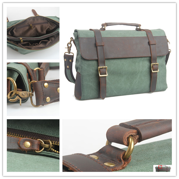 Stylish Simple Cheap Canvas Small Briefcases for Men with Single Leather Tote Handle