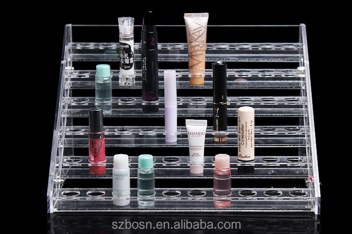6 tiers transparent acrylic cosmetic display for eyeshadow with cosmetic display for sale