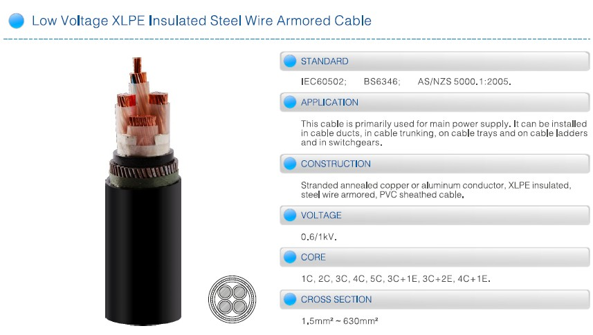 Low Voltage XLPE Insulated Steel Wire Armoured Cable 0.6/1kV