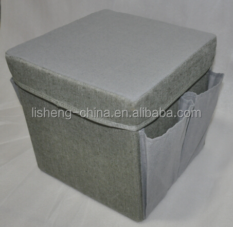 Ls-1404B20 Square storage stool with pockets