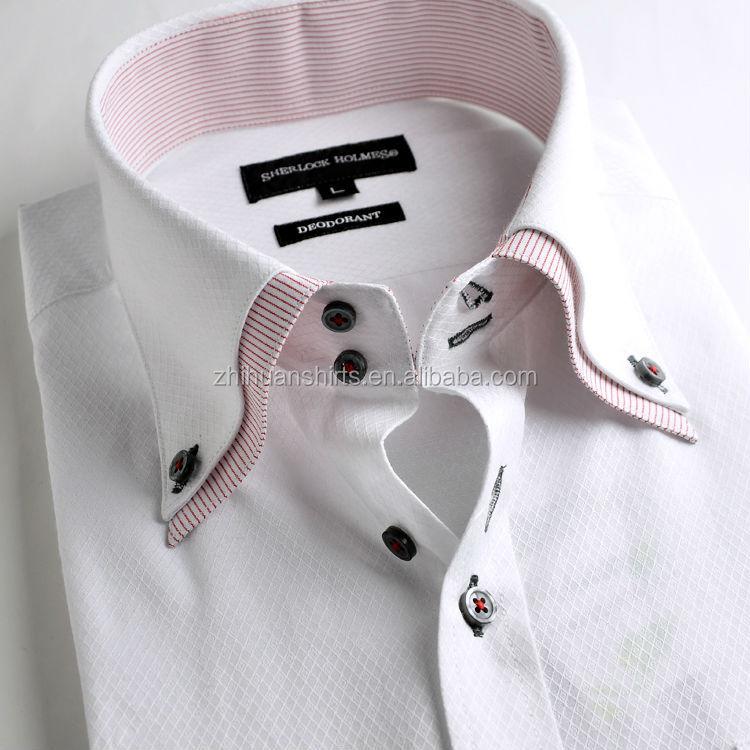 Button down collar italian style mens dress shirt buy for Pin collar shirt double cuff