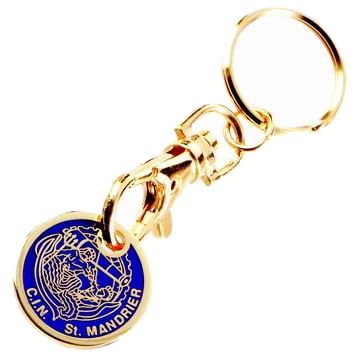 Custom Logo Printed Zinc Alloy Metal Trolley Coin Holder Key Chain