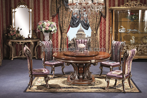 England Style Round Dining Table Noble British Windsor Victorian Style Wood Carved Dining Room