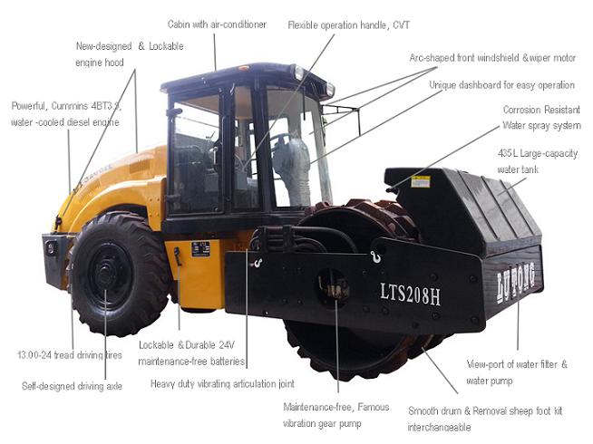 8 Tons LUTONG Full Hydraulic Single Drive Single Drum Vibratory Road Roller LTS208H