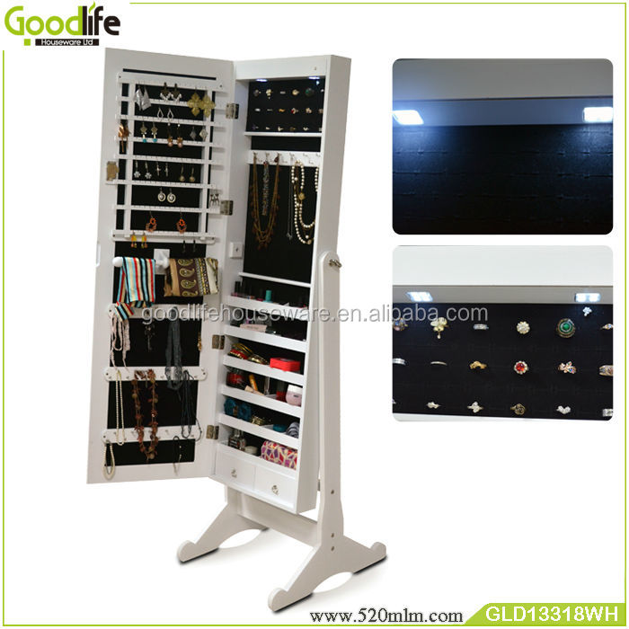 Wooden Cabinet With LED Lights ,dressing Mirror With Jewelry Storage Made  In China