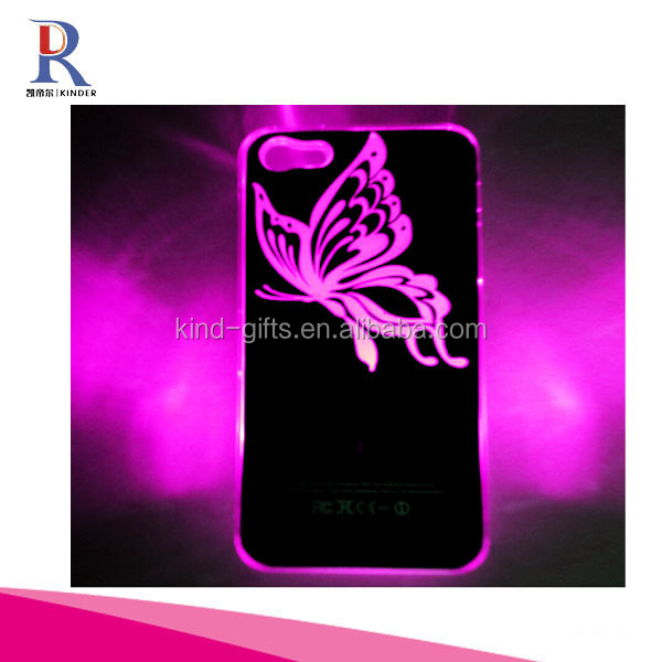New Sense Butterfly Pattern LED Flash Light Color Changing Hard Case for iPhone 5 Free Shipping + Free Gift