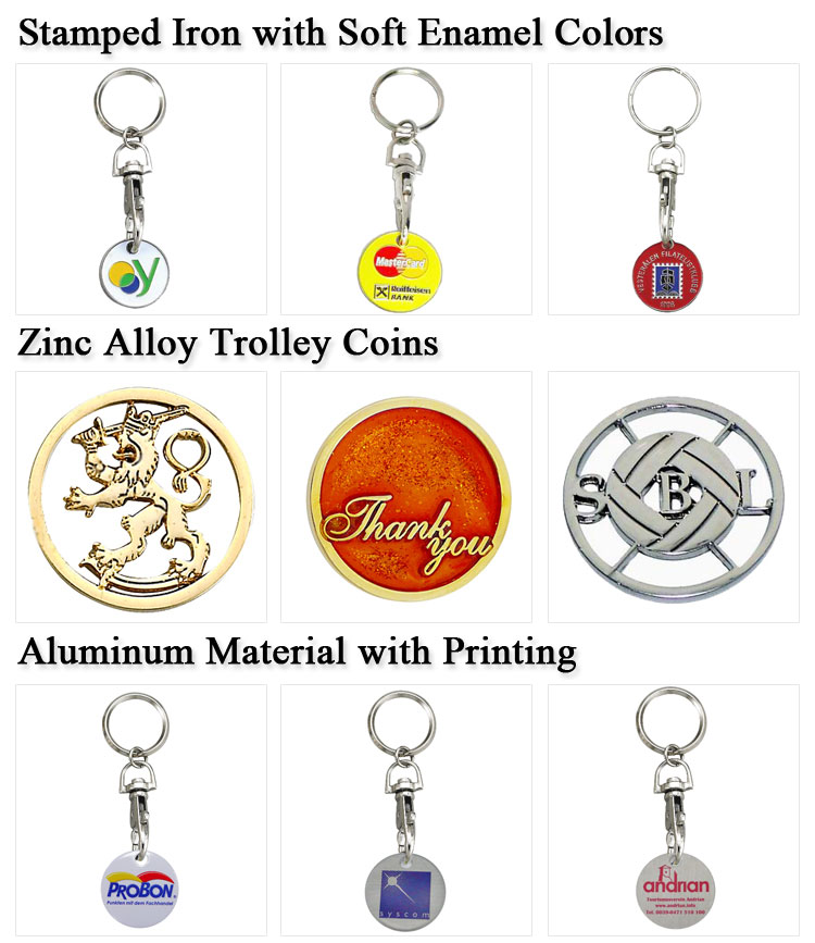 Promotional Cheap Custom Shopping Trolley Pound Token with Keyring