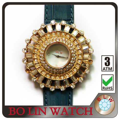 lady watch/brass casting case/japan movement/genuine leather strap/rhinestones/plating gold, quartz brand watch