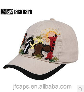 embroidery animals kids cotton sheet fabric baseball caps and hats