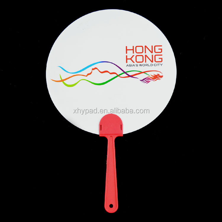 Promotional round plastic hand fan supplier