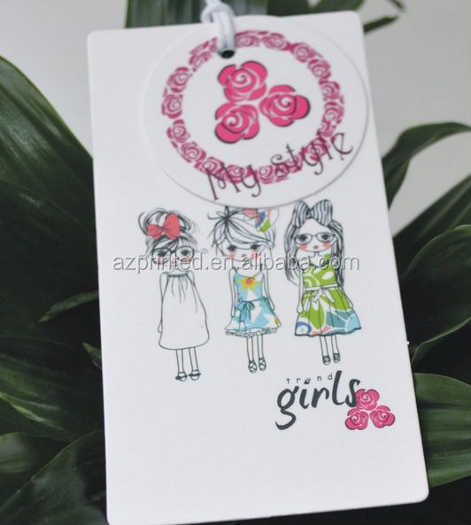 popular girls' style hang tag for garments,customized lovely design paper hang tags,flower round garment tags