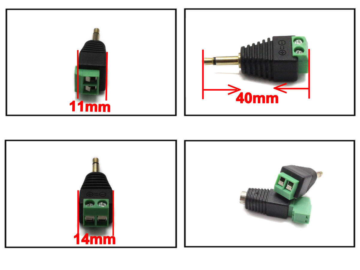 1pcs Green Male 3.5mm mono connector to terminal block