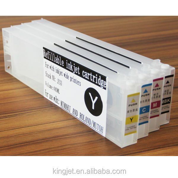 Large refillable 440ml ink cartridge for mimaki/mutoh/roland with 4 colors at wholesale price