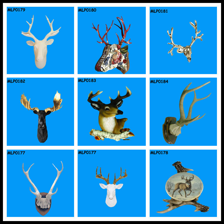 Gloss White 45x35cm Resin Deer Head Wall Hanging Designs