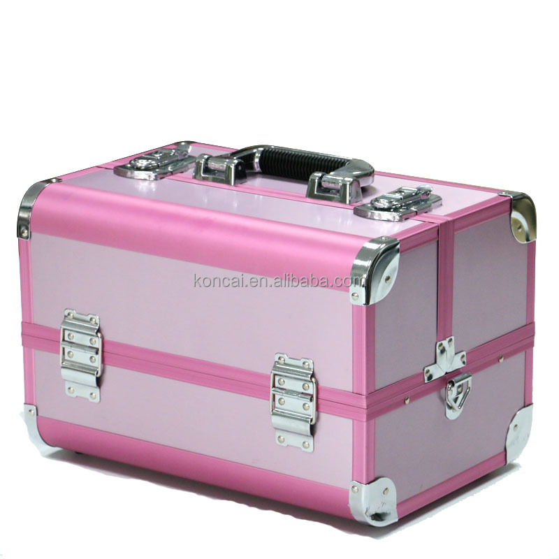 Aluminum makeup case with lock, pure aluminum makeup cases Clear&multifunctional makeup storage box,with cosmetic brush holders