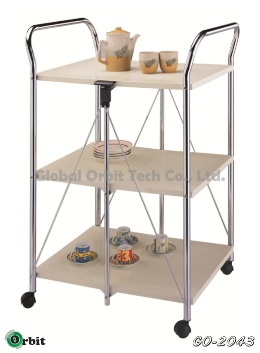 Folding kitchen wooden serving trolley food cart buy for Collapsible kitchen cart