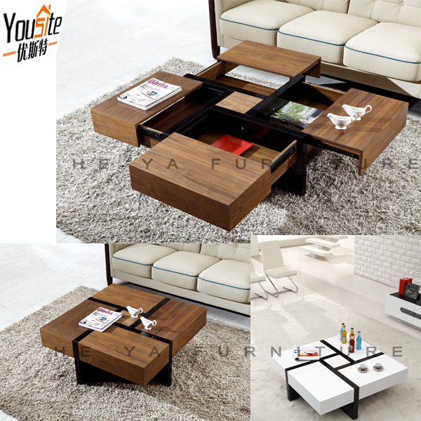 Good price wooden teapoy coffee table with funciton design for Teapoy table designs