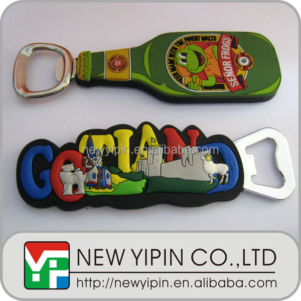 Personalized soft PVC fridge magnet bottle opener