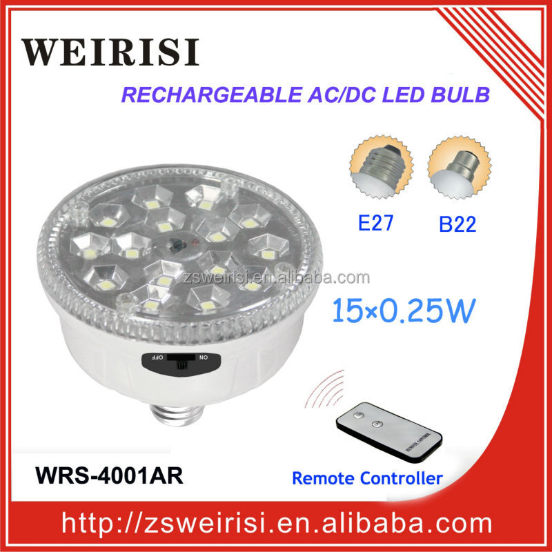 Rechargeable AC/DC SMD LED (5050) Bulb with remote controller (WRS-4001AR)