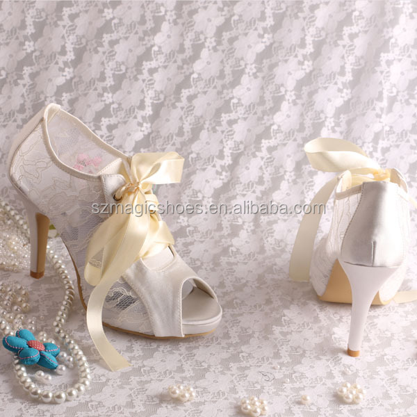 Ivory Lace Open Toe Sandals Boots for Summer