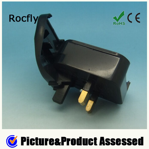 Black bs5732 eu to uk plug adapter travel adapter