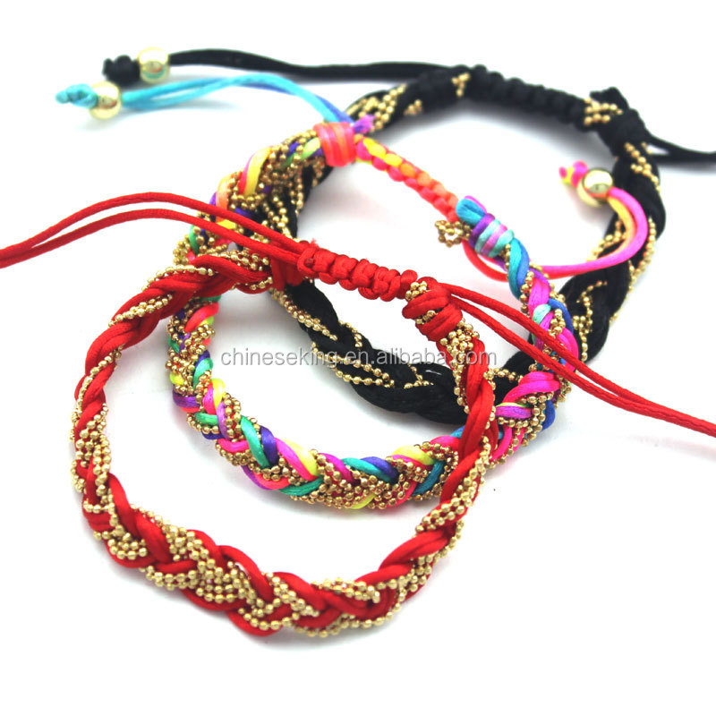 rhinestone chain wrapped woven leather rope Bracelet handmade cord friendship bracelets Trendy Hippie beach stack bracelet