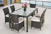 Hot Sell All Weather 6 people seats outdoor rattan dining table and chair