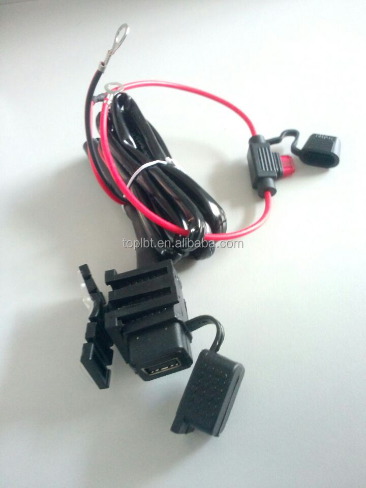 2014 new arrival 2.1A Motorcycle USB Cable Port Power Charger cable for mobile phone