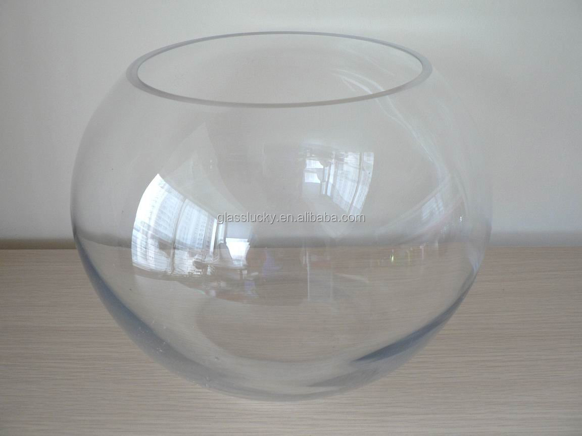 Wholesale glass fish bowls and fish tanks round glass by for Fish bowls in bulk