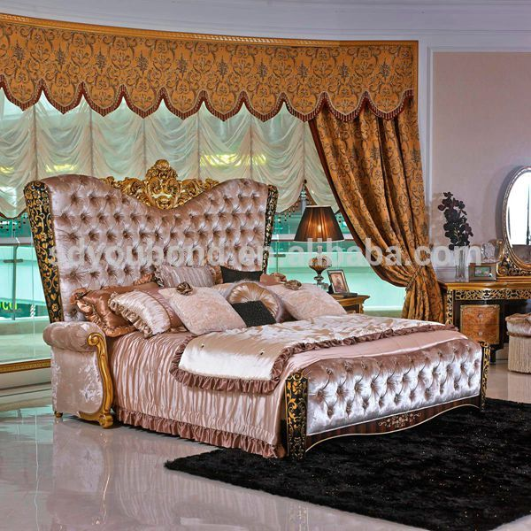 0061 European classic solid wood king size bedroom set 2016