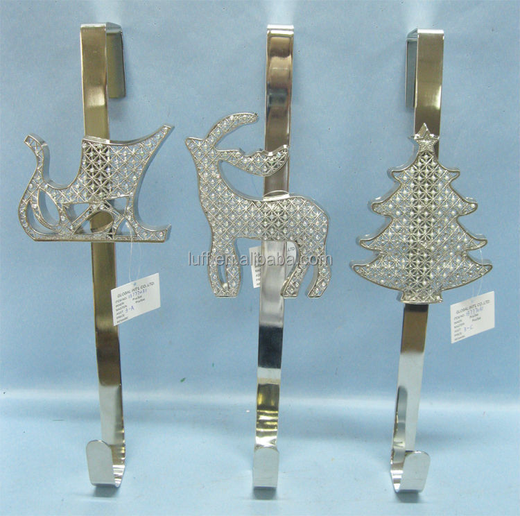 iron metal chrome shinny rhinstones Christmas tree deer stocking holder over door hook clothes hook door hanger