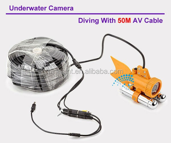 Underwater Fishing Camera 1/4 SONY CCD LED lights night vision waterproof with 50m cable,7'' CCTV camera