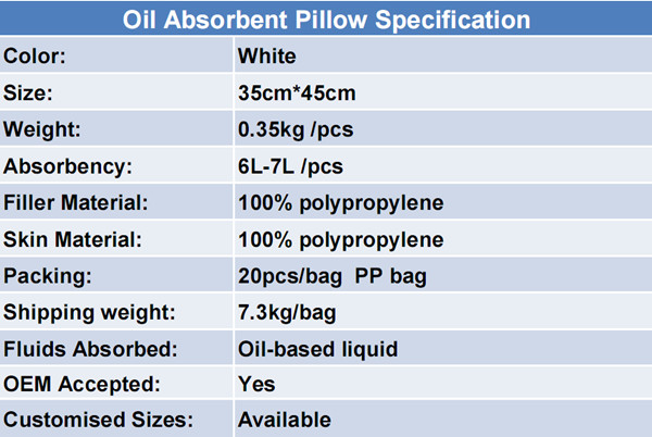 Multi-purpose 100%PP Oil Absorbent Pillow
