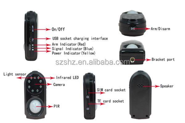 Pir Motion Sensor Hz Gm01 Vibration Auto Gsm Gprs Camera