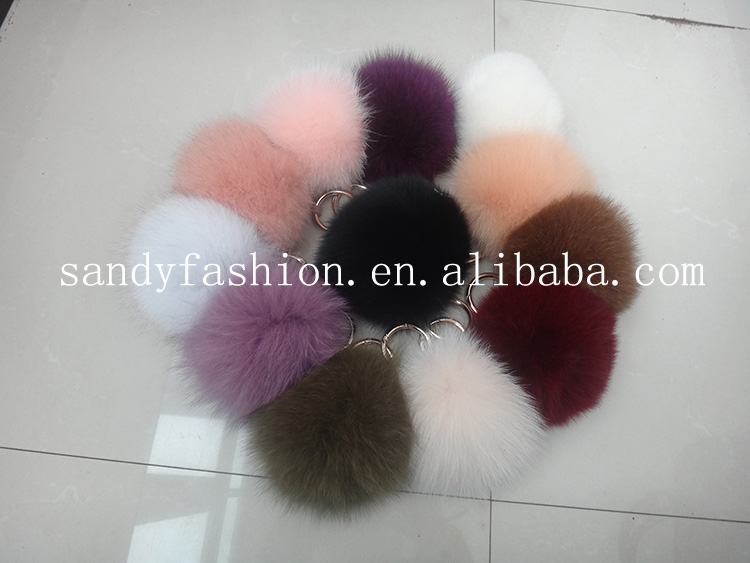 2014 New updating luxurious natural&colorful 12cm fox fur pom poms fur balls